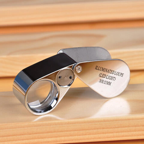30x21mm All-metal LED Illuminating Magnifier with Two LED Lights for Jewelry Inspection Jewel Loupe with Lights