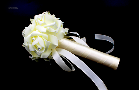 WEDDING-CRYSTAL-BOUQUET-BRIDAL-BRIDESMAID-ARTIFICIAL-FOAM-FAKE-ROSE&SILK