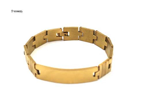 Personalized Stainless Steel Classic Stainless Steel ID Bracelet for Men-Gold Colour