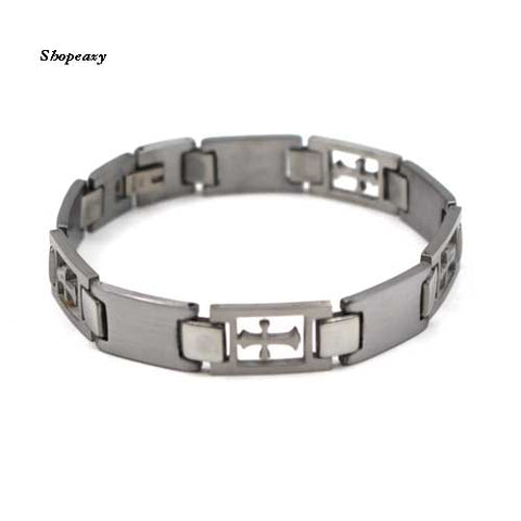Religious Stainless Steel Cross ID Bracelet Bangle