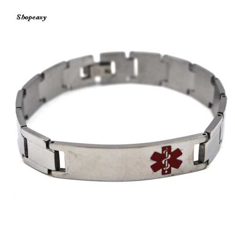 Men's Personalized Medical Alert Bracelet, Stainless Steel