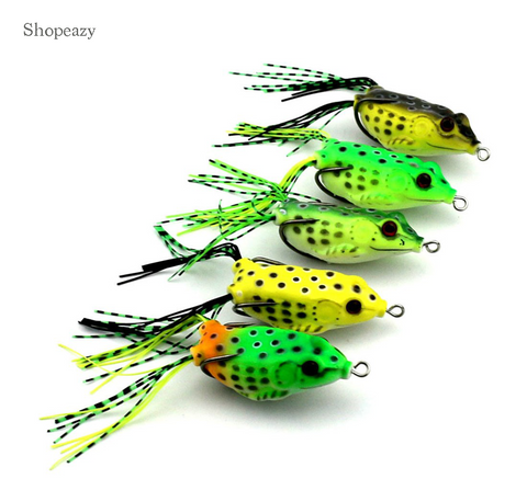 Random soft frog lures bait fishing hooks