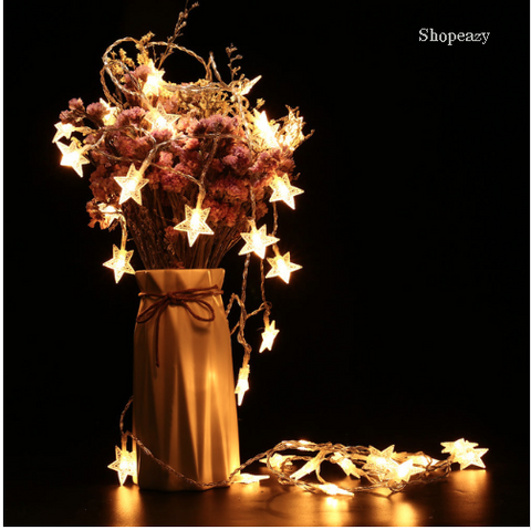 Holigoo Five-pointed Star Shape String Lights Battery Light Party Fairy Wedding Christmas Garland Decorations