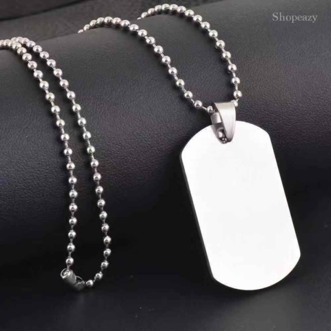 Blank Stainless Steel Pet Dog Tags + 60cm Bead Chains Fashion men pendants Army dog tags