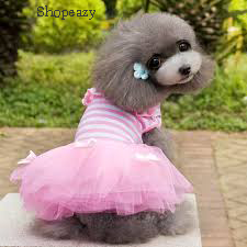 New Pet Dog &Cat Gauze Tutu Skirt Dresses Puppy Stripe Bowknot Cotton Dress Apparel
