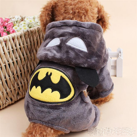 New Warm Pet Coat Winter Dog Clothes Cute Puppy batman Costume Hoodie Jumpsuit Clothing for Small Dogs Apparel