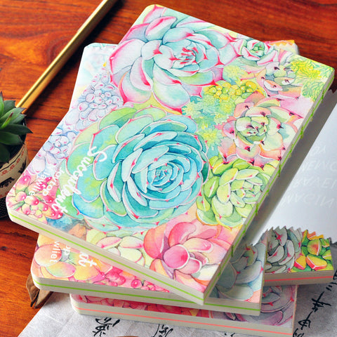 Watercolor Vibrant Succulent Notebook