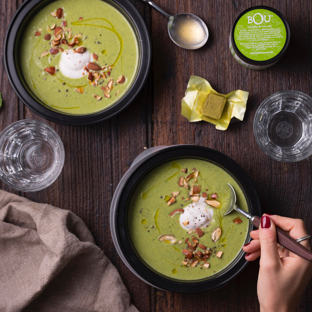 Creamy Basil, Broccoli and Chickpea Soup