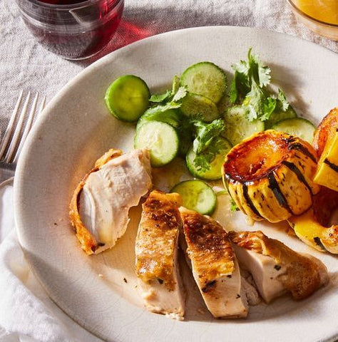 Spatchcocked Chicken with Maple-Glazed Squash