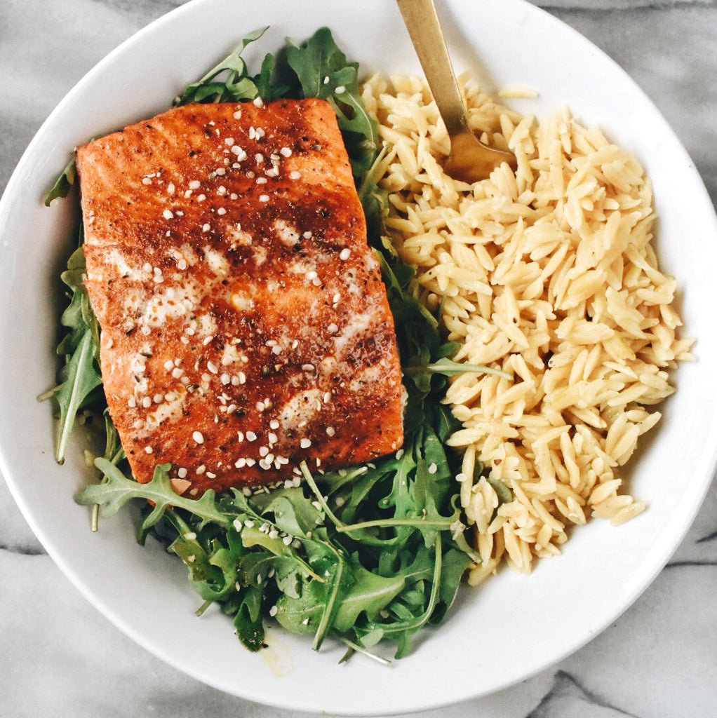 Baked Salmon and Chickpea Rice