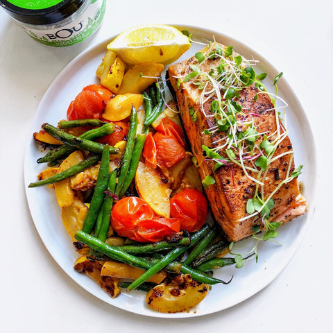 Pan-Seared Salmon with Summer Vegetables