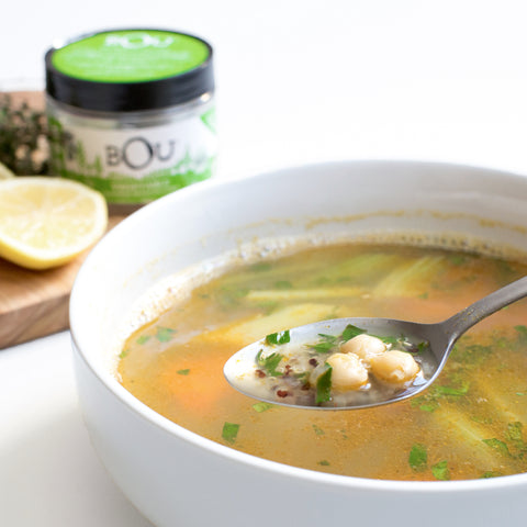 Quick & Easy Lemon Thyme Vegetable Soup with I Heart Keenwah