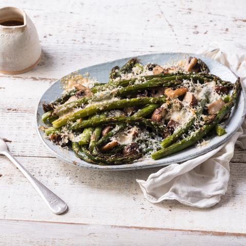 Asparagus and Mushroom Poutine with BOU Gravy
