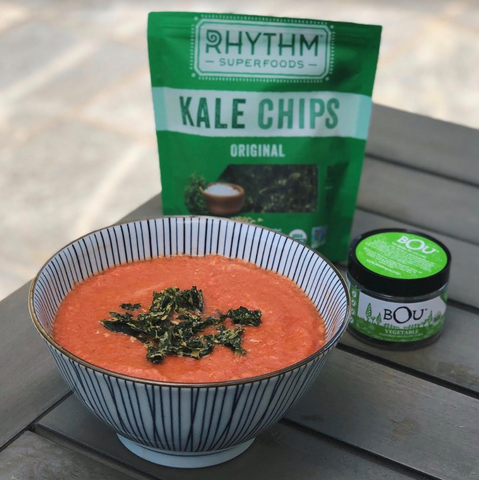 Garden Gazpacho with Rhythm Superfoods Kale Chips