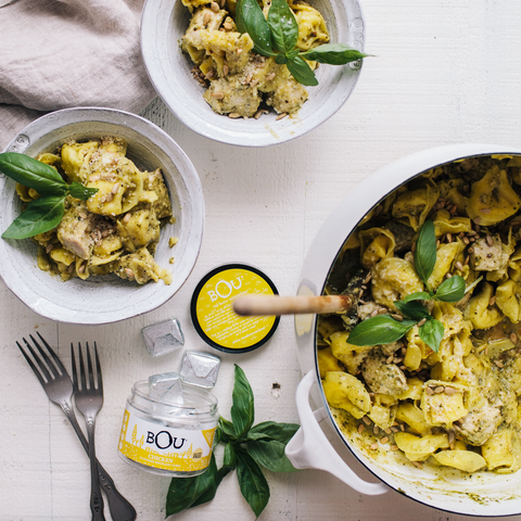 One-Pot Pesto Tortellini with Chicken