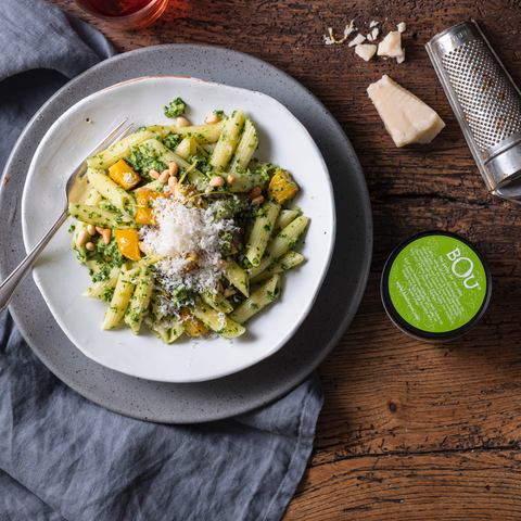 Pasta With Kale Pesto & Roasted Butternut Squash