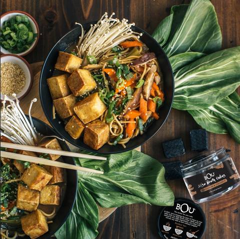 Easy Tofu & Mushroom Ramen with BOU Miso Broth Cubes
