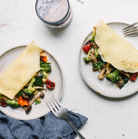 Savory Crepes with Wild Mushrooms & Broccoli