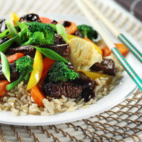 Zesty Beef Stir-Fry Over Brown Rice by Keri Glassman
