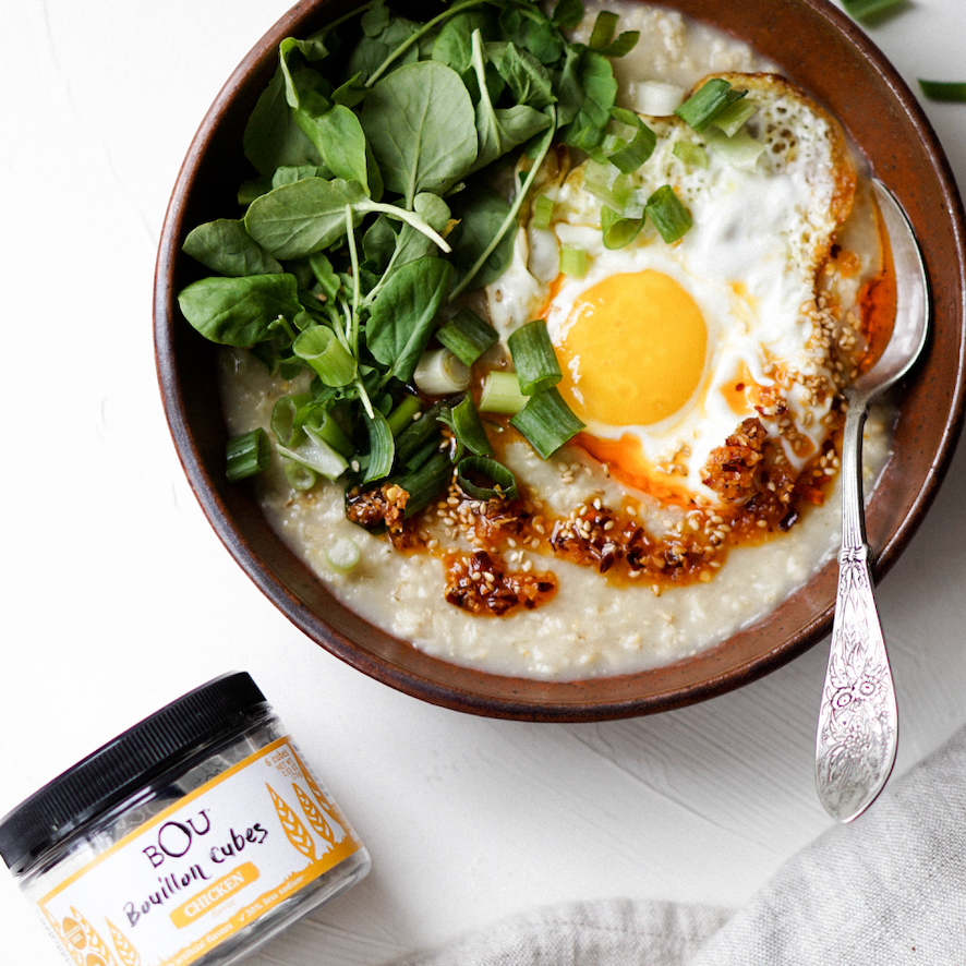 Savory Oatmeal with a Fried Egg and Chili Oil