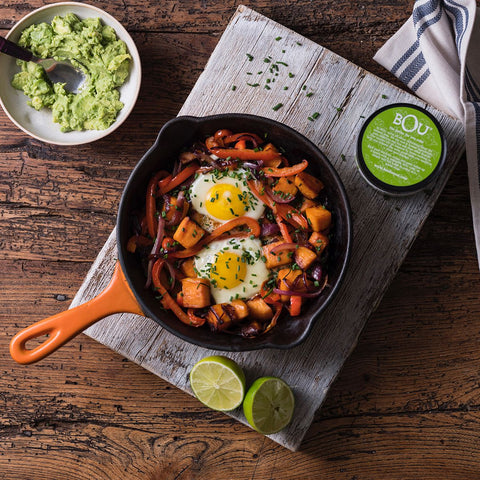 Sweet Potato Hash with Eggs and Avocado Mash