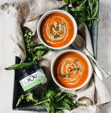 Roasted Tomato Soup with Basil Cashew Cream