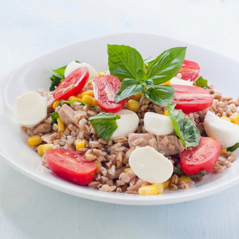 Fresh Mozzarella Farro Salad by Keri Glassman, MS, RDN