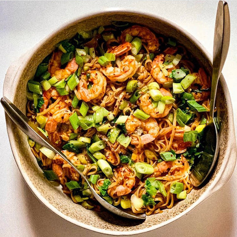 Spicy Shrimp Noodles with Bok Choy and Scallions