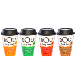 BOU Soup Cups come with everything you need except hot water