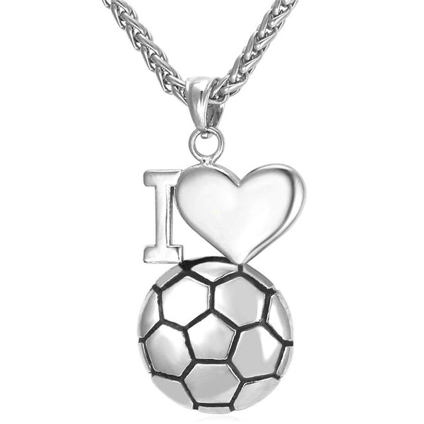 Stainless Steel I Love Soccer Necklace