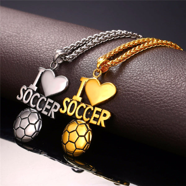 "Stainless Steel ""I Love Soccer Ball"" Necklace"