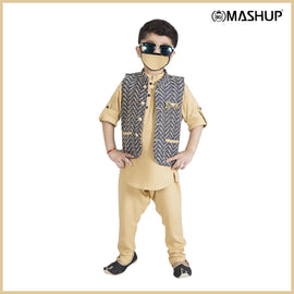 Bad Boys Jacquard Nehru Jacket with Khaki Kurta & Payjama - mashup boys