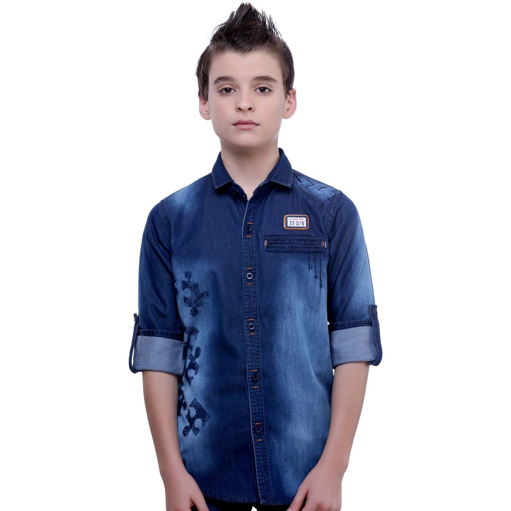 MashUp Puzzle Print Denim Shirt - mashup boys