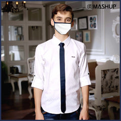 MashUp White Satin Club wear Shirt - mashup boys