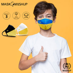 MashUp fashion Mask,Washable Reusable 2-layer colorblock protective face mask(Kids Size)(Pack of 3) - MASHUP
