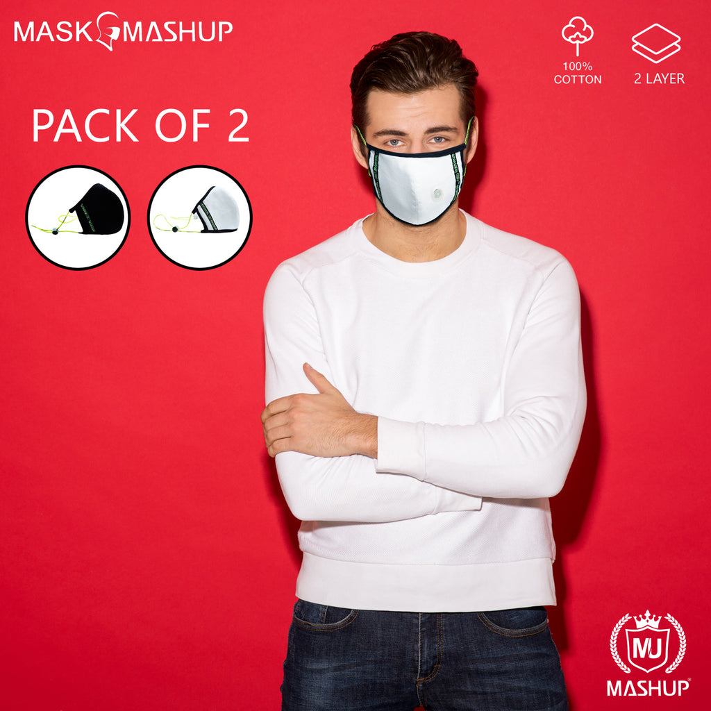 Mashup Fashion Mask,Reusable Washable 3-layer premium quality protective Mask With Air Filter Valve (Adult Size)(Pack of 2) - MASHUP