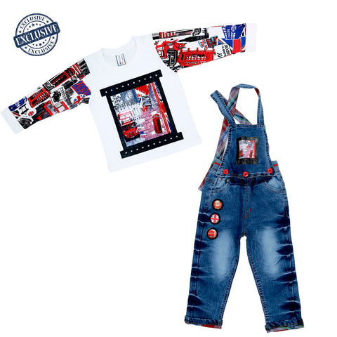 Digital print Detachable dungaree set - KRAZYLA