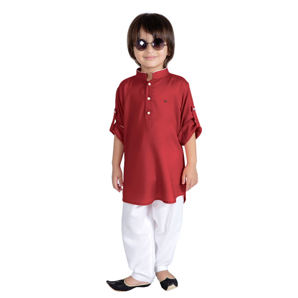 Bad Boys Maroon Kurta Payjama Set - KRAZYLA