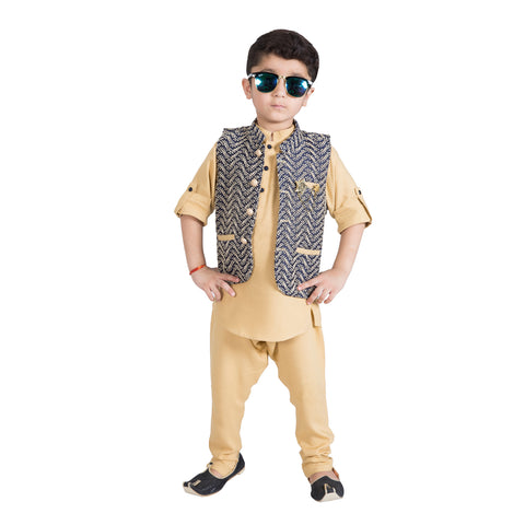 Bad Boys Jacquard Nehru Jacket with Khaki Kurta & Payjama - KRAZYLA