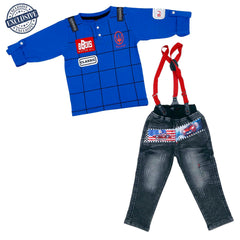 Printed T-shirt, jeans and Suspenders Set - mashup boys