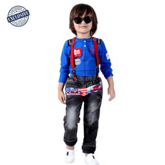Printed T-shirt, jeans and Suspenders Set - KRAZYLA