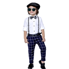 Plaid Party wear outfit with suspenders and bow tie.