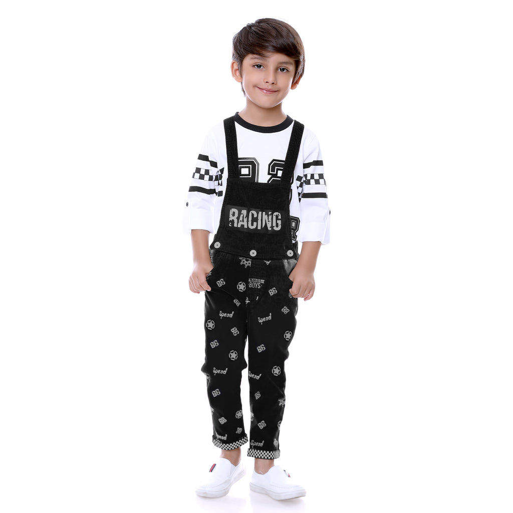 Bad Boys Black Racer Dungaree Set - mashup boys