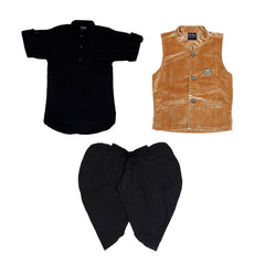 Black and khaki Nehru Jacket Ethnic outfit - mashup boys
