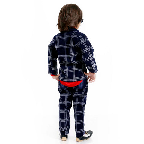 INDIGO PLAID FULL SUIT SET - mashup boys