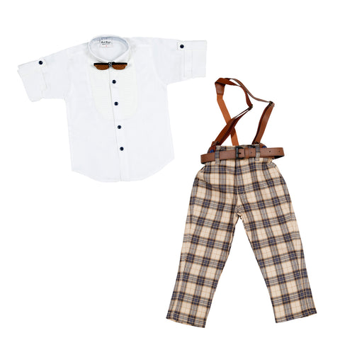 Plaid Party wear Outfit with Suspenders and wooden bow tie. - mashup boys
