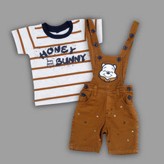 Bad Boys Party wear Outfit with T-shirt and Dungaree Shorts - mashup boys
