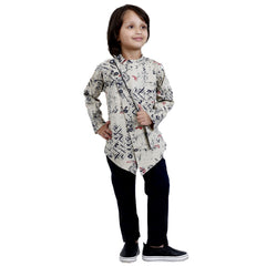 Bad Boys Beige Zitter Kurta Set For Boys - mashup boys