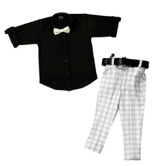 Plaid Party wear Outfit with Suspenders and wooden bow tie.