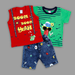 Bad Boys Stylish Casual Outfit with Cotton T-shirt and Denim Bottoms - mashup boys
